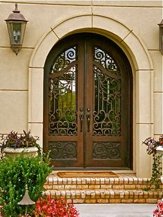 Custom Iron Doors - Doors by Design - Alabama and Mississippi Beautiful archtop wrought iron entrywa Iron Front Door, Double Front Doors, Iron Doors, Front Entry, Door Entryway, Entrance Doors, Gate Design, Door Design, Wrought Iron Decor