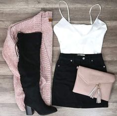 Komplette Outfits, Cute Fall Outfits, Winter Fashion Outfits, Fall Winter Outfits, Cute Fashion, Look Fashion, Pretty Outfits, Stylish Outfits, Black Skirt Outfits
