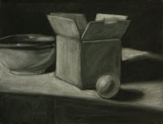 Compressed Charcoal on Drawing Paper / kneeded eraser Add some spheres to our still life : )