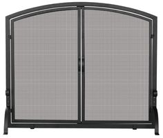 UniFlame Large Single Panel Black Wrought Iron Fireplace Screen with Doors