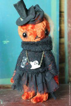 Купить Тыковка - рыжий, тыква, тыквы, тыковка, тыквоголовки, тедди, игрушка ручной работы, хеллоуин
