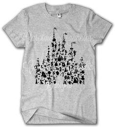 NEW Disney Castle Character Silhouette Shirt Disney Fan Disney World Shirts, Disney Tees, Disney Shirts For Family, Disney World Vacation, Disney Vacations, Shirts For Girls, Lion King Funny, Fan Shirts, Disney Magic