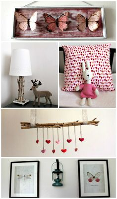 I love the stick with the hearts hanging down.am imagining it with bottle green velvet, satin, felt & gold hearts? Whimsical Bedroom, Woodland Nursery Decor, Woodland Baby, Woodland Theme, Bedroom Themes, Nursery Themes, Kids Bedroom, Nursery Ideas, Butterfly Room