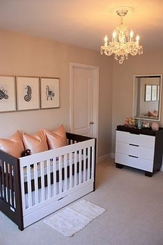 Uncluttered space with prints; gray and pink