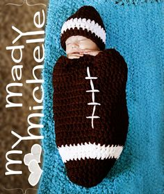 Infant Crochet Football Cocoon Foot Ball Hat great for Halloween costume, photo prop or gift for Photography. $35.99, via Etsy.