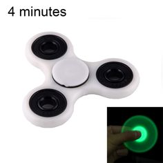 [$3.59] Fidget Spinner Toy Stress Reducer Anti-Anxiety Toy with Fluorescent Light for Children and Adults, 4 Minutes Rotation Time, Hybrid Ceramic Bearing + POM Material(Grey)