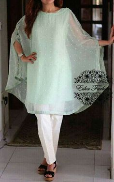 This summer season try the trendy Cape Kurtis. Know the various Cape Style Kurti Designs and patterns that are perfect for any casual occasion. Pakistani Cape Dresses, Pakistani Outfits, Indian Dresses, Indian Outfits, Kurta Designs, Blouse Designs, Kurti Designs Pakistani, Latest Kurti Designs, Casual Summer Dresses