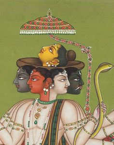 Detail, 'Pancha-Mukha Shiva' (The Five Directional Forms of Shiva ) by contemporary Indian artist Kailash Raj. Miniature, watercolor on paper, 8 x 11 in. via Exotic India Mughal Paintings, Indian Paintings, Indian Illustration, Shiva Art, Shiva Shakti, India Art, Indian Artist, Hindu Deities, Traditional Paintings