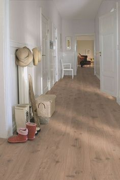 Pergo Laminate Golf - Long Plank 'Drift Oak' in a rural hall., The Effective Pictures We Offer You About how to lay laminate flooring A qua White Laminate Flooring, House Design, Interior, Floor Design, Home, House Flooring, Grey Laminate Flooring, Flooring, White Laminate