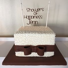Bridal shower cake made with buttercream piped with cornelli lace with fondant ribbon.  Made by Hazel Boivin Weddings & Events