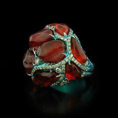 Arunashi Fire Opal and Diamond Ring #opalsaustralia