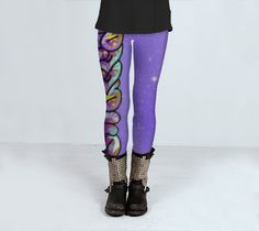 Swagga purple graffti leggings great for yoga gym or fitness by ParadoxYoga on Etsy