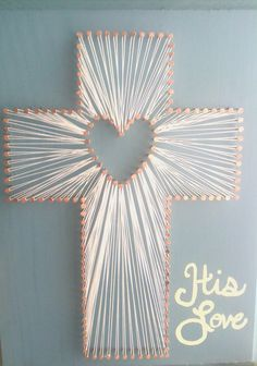 $50 His Love, cross string art. Shades of Glitter on Etsy.