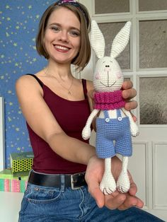 Beautiful toy for baby and nursery decor. Crochet Bunny, Crochet Dolls, Knit Crochet, Amigurumi Toys, Amigurumi Patterns, Pet Toys, Baby Toys, Educational Toys For Toddlers, Funny Toys
