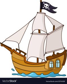 Pirate ship vector image on VectorStock Homemade Pirate Costumes, Victorian Christmas Decorations, Transportation Activities, Ship Vector, Pirate Crafts, Happy Birthday Baby, Art Activities For Kids, Sad Art, Fish Art