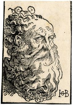 Head of an old man; facing right, with long curly hair and beard. c.1518-19  Hans Baldung