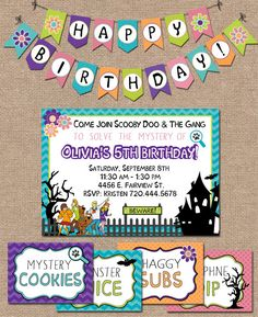 SCOOBY DOO BIRTHDAY Printable Tent Labels/Food by kimberlyjdesign, $6.00