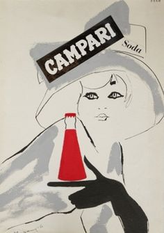 Illustration by Franz Marangolo, 1960's, Campari. (I)