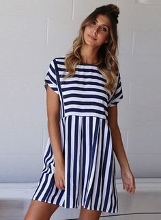 fashion-striped-loose-short-sleeve-round-neck-women-dress