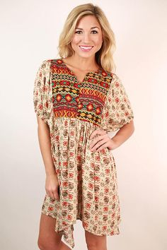 It's For Keeps Print Tunic Dress in Beige • Impressions Online Women's Clothing Boutique