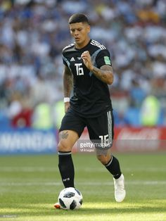 Marcos Rojo of Argentina during the 2018 FIFA World Cup Russia group D match between Argentina and Iceland at the Spartak Stadium on June 2018 in Moscow, Russia. June 16, Moscow Russia, Fifa World Cup, Football Players, Iceland, Photo Art, Hair Beauty, Hairstyles, Club