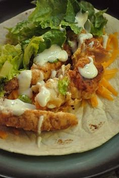 Fried chicken ranch wrap...why have i never thought of doing this lol