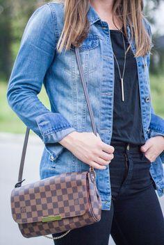Louis Vuitton favorite MM bag - Frame Denim jeans - outfit