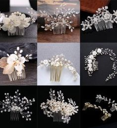 Bridal Hair Pins that can be grouped to make a feature design or scattered through a wedding hair style to create a boho look. Bridal Hair pins are perfect accessories for bridesmaids to tie in the complete look. Bridal Hair Tiara, Bridal Hair Pins, Hair Comb Wedding, Wedding Veils, Tiara Hairstyles, Wedding Hairstyles, Romantic Wedding Hair, Sparkle Wedding, Hair Beads