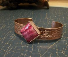 Rhodochrosite and copper metalwork Bracelet - copper jewelry - copper cuff - stone bracelet on Etsy, $20.00