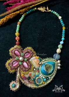 Drusy quartz and cat eye glass bead embroidery necklace by Adiningtyas (2015)