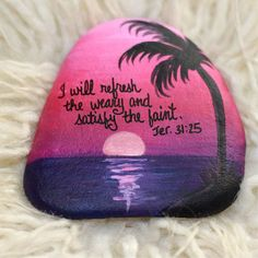 Hawaiian Sunset Hand Painted Rock - Ocean Beach sunset painting - Scripture - Inspirational Painting - Religious - Confirmation Gift