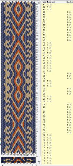 Diseño Tribal bracelet , 24 tarjetas, 3 colores, repite cada 36 movimientos // sed_682 diseñado en GTT༺❁