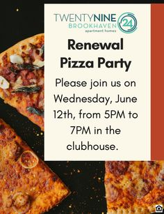 Love living at Brookhaven? Come hang out with us at our Renewal Pizza Party on June Love Pizza, Pizza Party, Luxury Apartments, June, Breakfast, Ethnic Recipes, Food, Morning Coffee, Meal