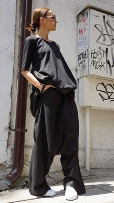 NEW COLLECTION Loose Linen Black Pants / Wide Leg Pants by Aakasha, $89.00
