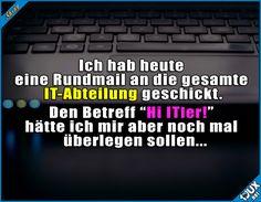 War wohl nicht die beste Idee :\ #ITWitz #Humor #lustigeSprüche #GutenMorgen #lustig #lachen #Witze #Statussprüche Humor
