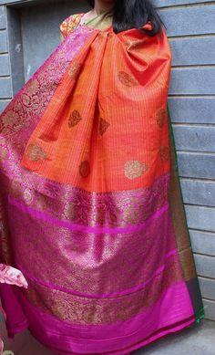 Bright orange banaras dupion silk saree with contrast border with antique gold zari