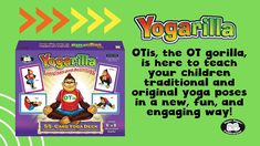 OTs, SLPs, PTs, teachers, and parents can use yoga in the classroom, at home, or in treatment to improve fine and gross motor skills, sensory processing, attention, communication, and cognition. Yogarilla Exercises and Activities Yoga Deck 55 color-coded cards with traditional and original yoga poses. *10 standing, 10 seated, 10 prone, 10 supine, and 10 hands and knees. *3 partner poses (Two children work together in a pose). * 2 breathing poses (Improve awareness of breath and breath… Physical Education Activities, Sensory Activities, Balance Exercises, Sensory Integration, Gross Motor Skills, Working With Children, Second Child, Occupational Therapy, Yoga Poses
