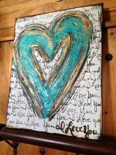 Large Textured Turquoise Heart Art by DesignsbyDarlaT Art Doodle, Wal Art, Heart Painting, Paint Party, Mixed Media Canvas, Medium Art, Painting Inspiration, Altered Art, Painting & Drawing