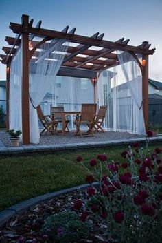 classic pergola with side curtains