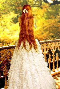 beautiful long red hair