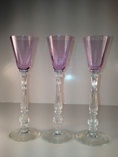 Vintage Alexanderite Barbara Fritchie Heisey Cordial Glasses. Love the way the color changes to light blue under natural light.