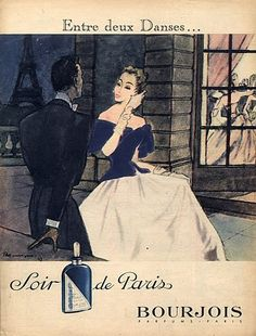 Bourjois 1947 Soir De Paris Pierre Mourgue Eiffel Tower Elegant Dancer