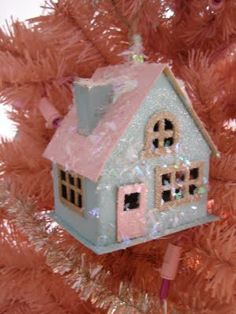 This weekend some of my girlfriends and I had a craft day. We each had things we wanted to work on for Christmas and decided it would be m. Christmas Village Houses, Putz Houses, Christmas Villages, House Ornaments, Holiday Ornaments, Holiday Crafts, Pink Christmas, Christmas Home, Vintage Christmas