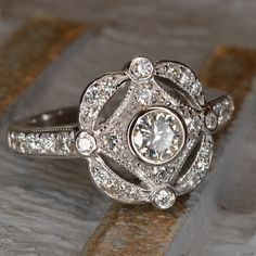 Roaring 20's / Art Deco Diamond Ring 18k White Gold by JdotC, $1650.00