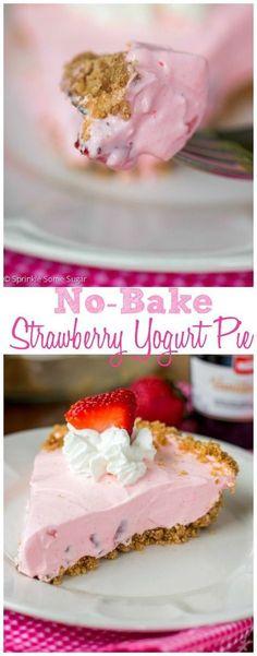No-Bake Strawberry Yogurt Pie. This pie is so creamy and jam jacked with strawberry flavor! No Bake Desserts, Easy Desserts, Delicious Desserts, Dessert Recipes, Yummy Food, Strawberry Yogurt Pie, Fruit Yogurt, Yogurt Smoothies, Yogurt Dessert