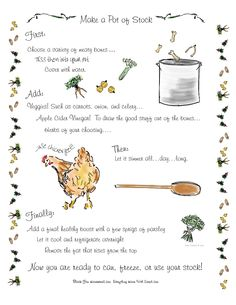 How to make a pot of stock.  Post includes a free printable.