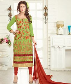 Buy Green Georgette Churidar Suit 75452 online at lowest price from huge…