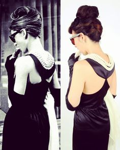 Complete Audrey Hepburn Black Dress Costume – the Breakfast at Tiffany's costume set-Premium Edition