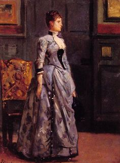 Portrait of a woman in blue painting by Alfred Stevens Alfred Stevens, 1880s Fashion, Victorian Fashion, Victorian Dresses, Blue Painting, Woman Painting, James Ensor, European Dress, Victorian Art