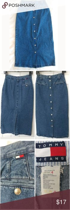 Vintage Tommy Jeans Skirt Size 4 Long Snap Front Vintage Tommy Hilfiger Tommy Jeans Skirt Size 4 Long Blue Denim Snap Front Back Slit Skirt. 33.5 inches long from waist to hem, 26 inch waist, and 39 inches around the bottom hem. Tommy Hilfiger Skirts Pencil
